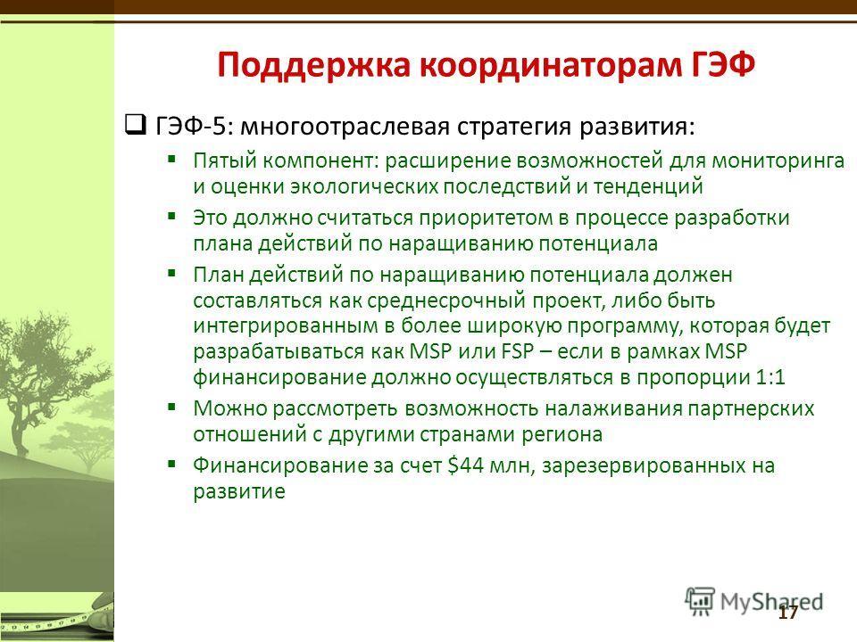 ГЭФ-5: многоотраслевая стратегия развития: Пятый компонент: расширение возможностей для мониторинга и оценки экологических последствий и тенденций Это должно считаться приоритетом в процессе разработки плана действий по наращиванию потенциала План де