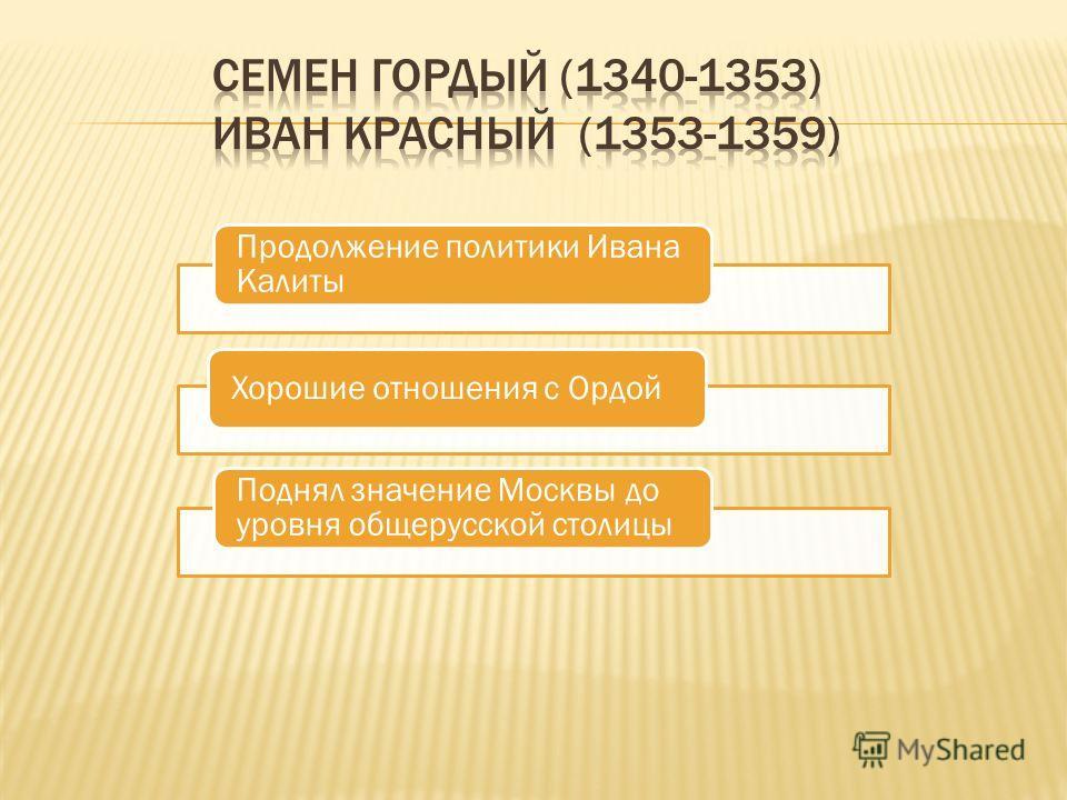 Продолжение политики Ивана Калиты Хорошие отношения с Ордой Поднял значение Москвы до уровня общерусской столицы
