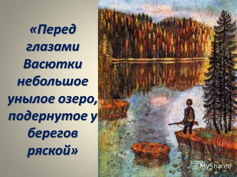 «Перед глазами Васютки небольшое унылое озеро, подернутое у берегов ряской»