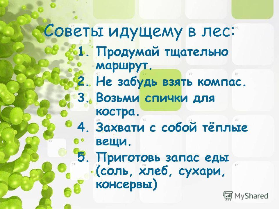Советы идущему в лес: 1.Продумай тщательно маршрут. 2.Не забудь взять компас. 3.Возьми спички для костра. 4.Захвати с собой тёплые вещи. 5.Приготовь запас еды (соль, хлеб, сухари, консервы)