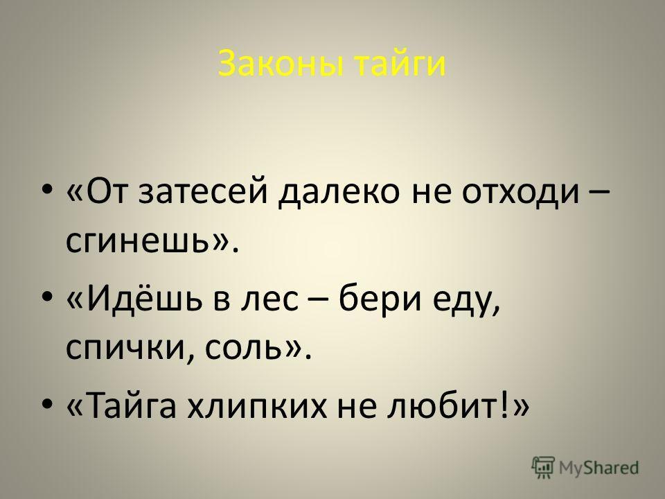 Законы тайги «От затесей далеко не отходи – сгинешь». «Идёшь в лес – бери еду, спички, соль». «Тайга хлипких не любит!»