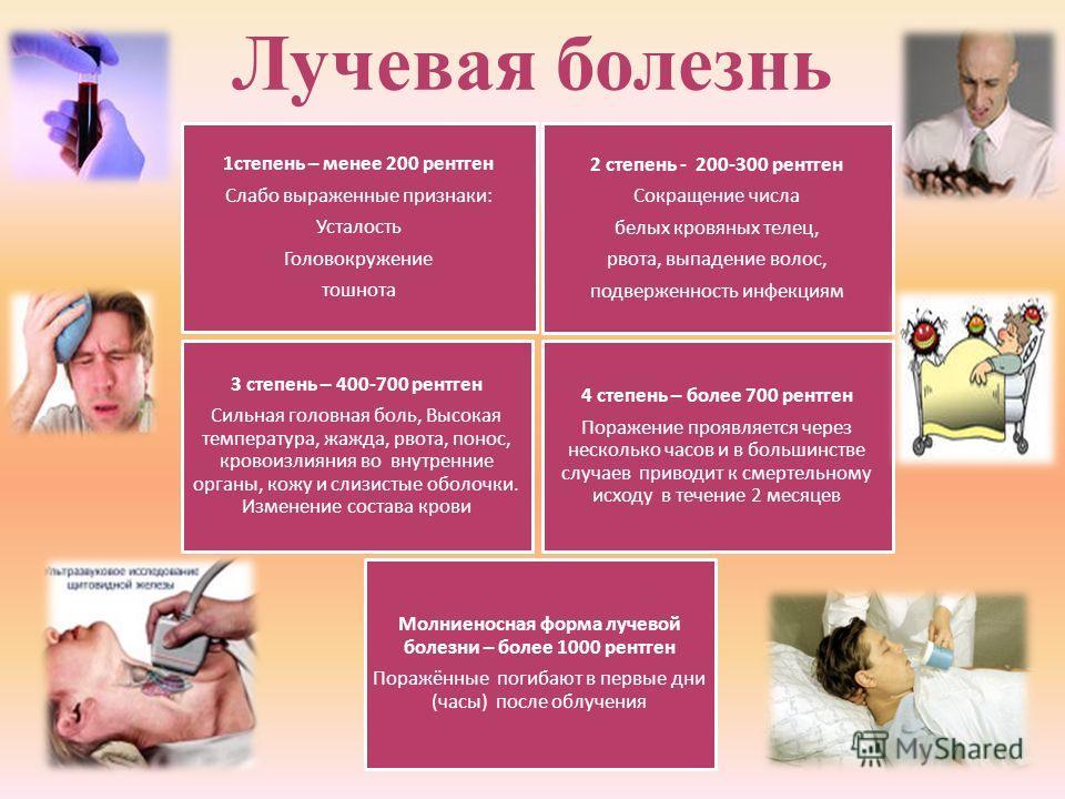 Лучевая болезнь 1степень – менее 200 рентген Слабо выраженные признаки: Усталость Головокружение тошнота 2 степень - 200-300 рентген Сокращение числа белых кровяных телец, рвота, выпадение волос, подверженность инфекциям 3 степень – 400-700 рентген С