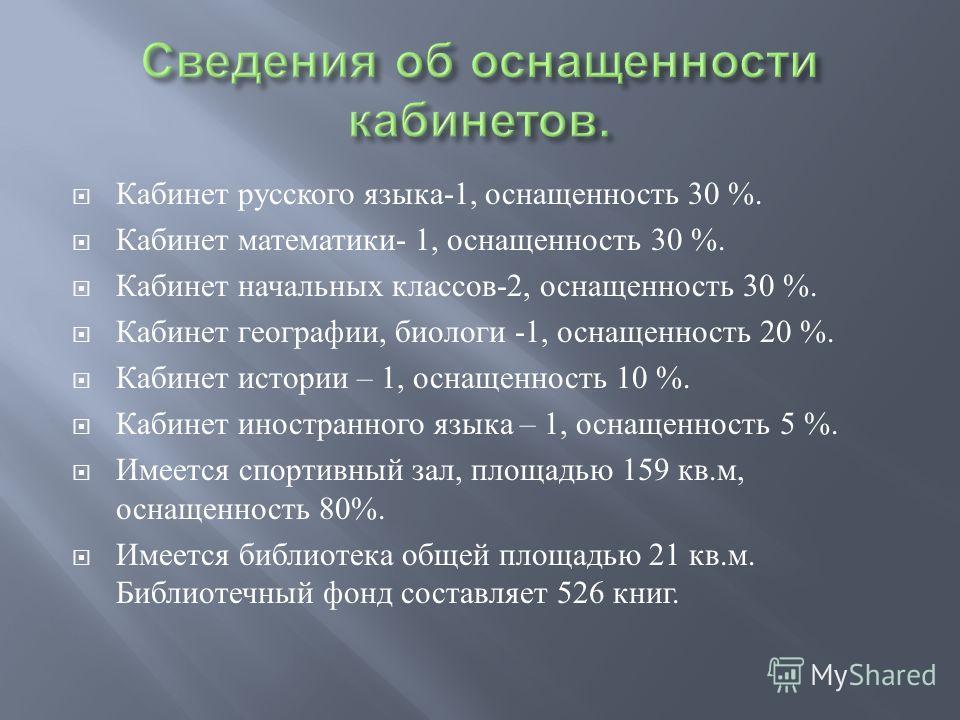Кабинет русского языка -1, оснащенность 30 %. Кабинет математики - 1, оснащенность 30 %. Кабинет начальных классов -2, оснащенность 30 %. Кабинет географии, биологи -1, оснащенность 20 %. Кабинет истории – 1, оснащенность 10 %. Кабинет иностранного я