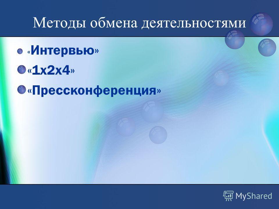 Методы обмена деятельностями « Интервью» «1х2х4» «Прессконференция»