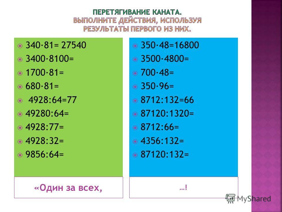 «Один за всех, …! 34081= 27540 34008100= 170081= 68081= 4928:64=77 49280:64= 4928:77= 4928:32= 9856:64= 35048=16800 35004800= 70048= 35096= 8712:132=66 87120:1320= 8712:66= 4356:132= 87120:132=