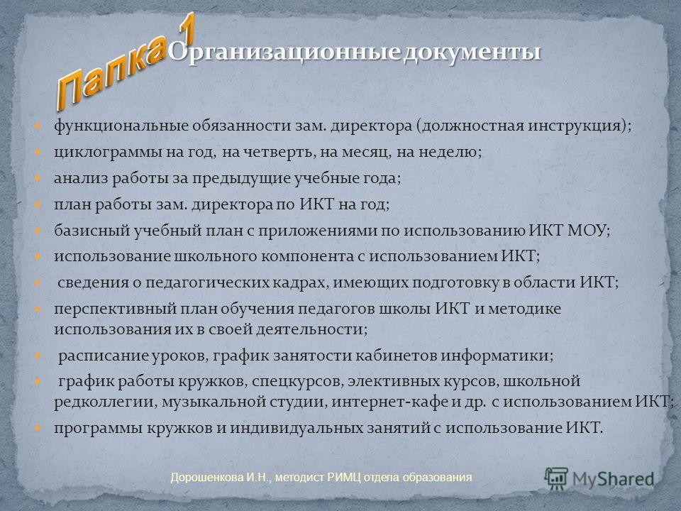 Должностные инструкции заместителя директора по информатизации
