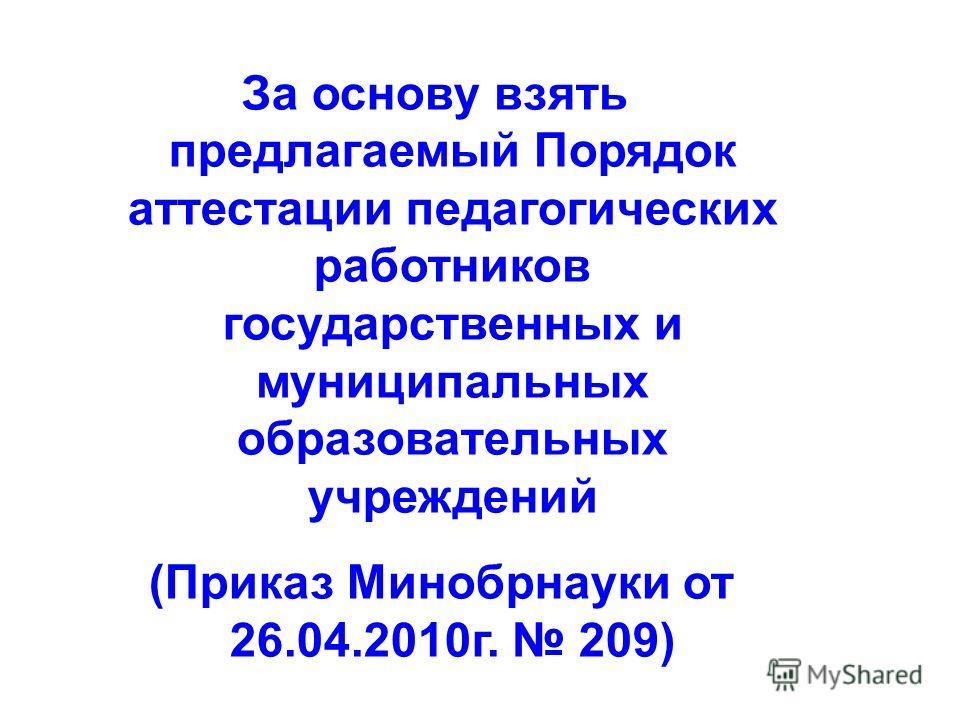 За основу взять предлагаемый Порядок аттестации педагогических работников государственных и муниципальных образовательных учреждений (Приказ Минобрнауки от 26.04.2010г. 209)