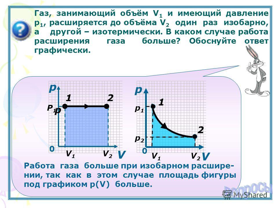 Газ, занимающий объём V 1 и имеющий давление р 1, расширяется до объёма V 2 один раз изобарно, а другой – изотермически. В каком случае работа расширения газа больше? Обоснуйте ответ графически. p р V V1V1 V2V2 0 12 0 р1р1 р2р2 V1V1 V2V2 V 1 2 Р1Р1 p