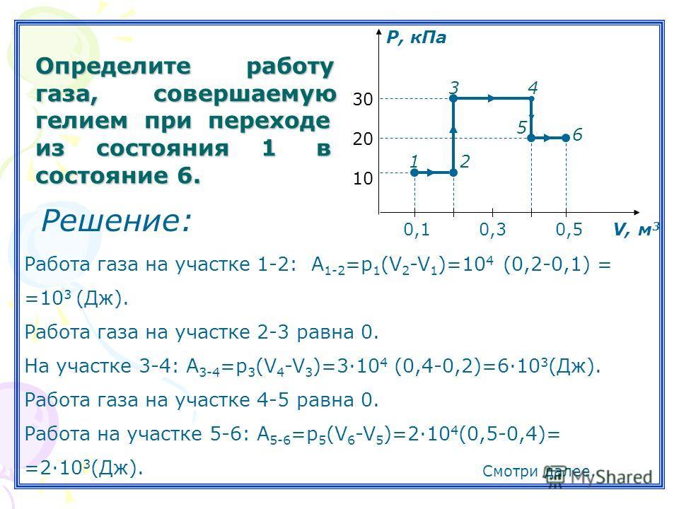 Определите работу газа, совершаемую гелием при переходе из состояния 1 в состояние 6. 0,1 0,3 0,5 V, м 3 10 20 30 Р, кПа 12 34 5 6 Работа газа на участке 1-2: А 1-2 =р 1 (V 2 -V 1 )=10 4 (0,2-0,1) = =10 3 (Дж). Работа газа на участке 2-3 равна 0. На