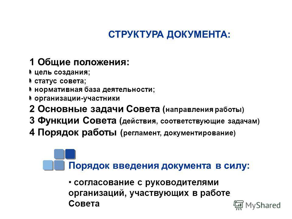 СТРУКТУРА ДОКУМЕНТА: 1 Общие положения: цель создания; статус совета; нормативная база деятельности; организации-участники 2 Основные задачи Совета ( направления работы) 3 Функции Совета ( действия, соответствующие задачам) 4 Порядок работы ( регламе