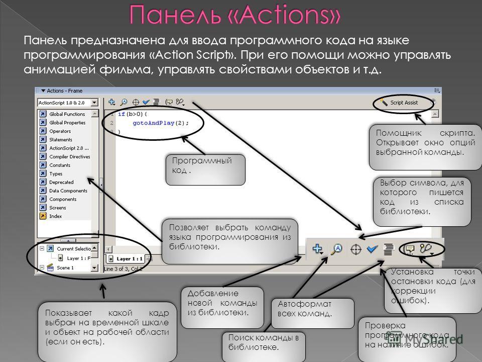 Панель предназначена для ввода программного кода на языке программирования «Action Script». При его помощи можно управлять анимацией фильма, управлять свойствами объектов и т.д. Программный код. Программный код. Показывает какой кадр выбран на времен