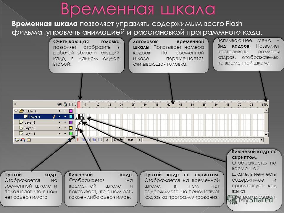 Временная шкала позволяет управлять содержимым всего Flash фильма, управлять анимацией и расстановкой программного кода. Считывающая головка позволяет отобразить в рабочей области текущий кадр, в данном случае второй. Заголовок временной шкалы. Показ