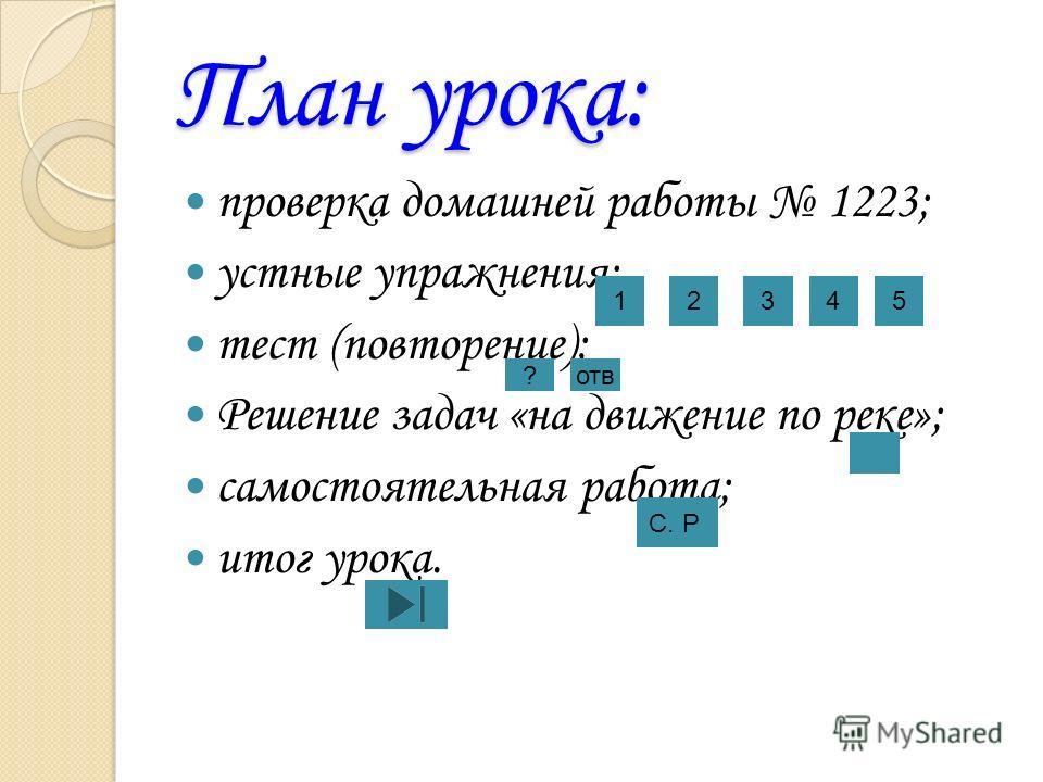 План урока: проверка домашней работы 1223; устные упражнения; тест (повторение); Решение задач «на движение по реке»; самостоятельная работа; итог урока. 12345 ?отв С. Р