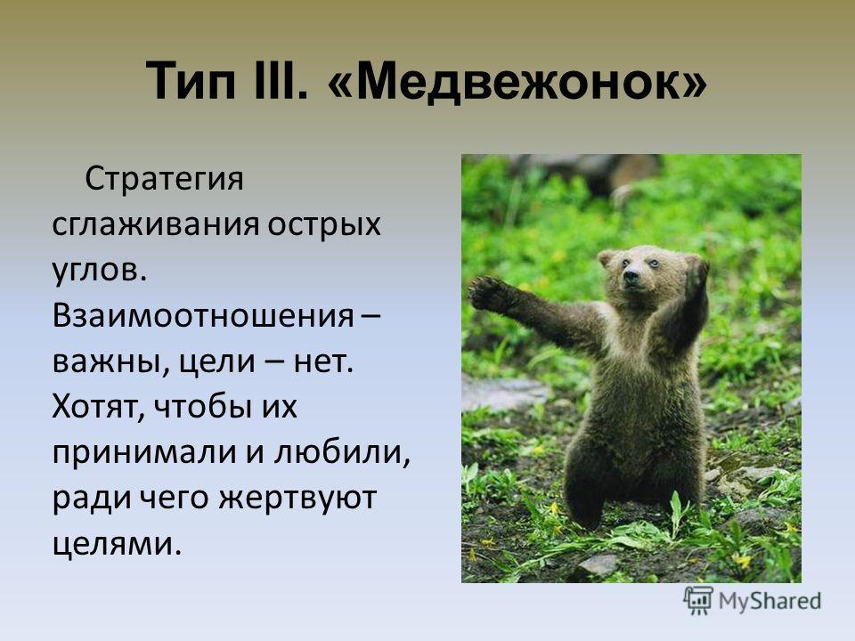 Тип III. «Медвежонок» Стратегия сглаживания острых углов. Взаимоотношения – важны, цели – нет. Хотят, чтобы их принимали и любили, ради чего жертвуют целями.