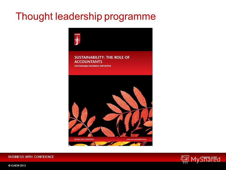 BUSINESS WITH CONFIDENCE icaew.com © ICAEW 2013 Thought leadership programme