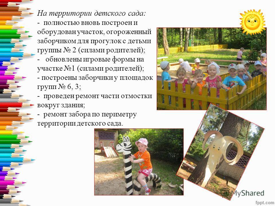 На территории детского сада: - полностью вновь построен и оборудован участок, огороженный заборчиком для прогулок с детьми группы 2 (силами родителей); - обновлены игровые формы на участке 1 (силами родителей); - построены заборчики у площадок групп