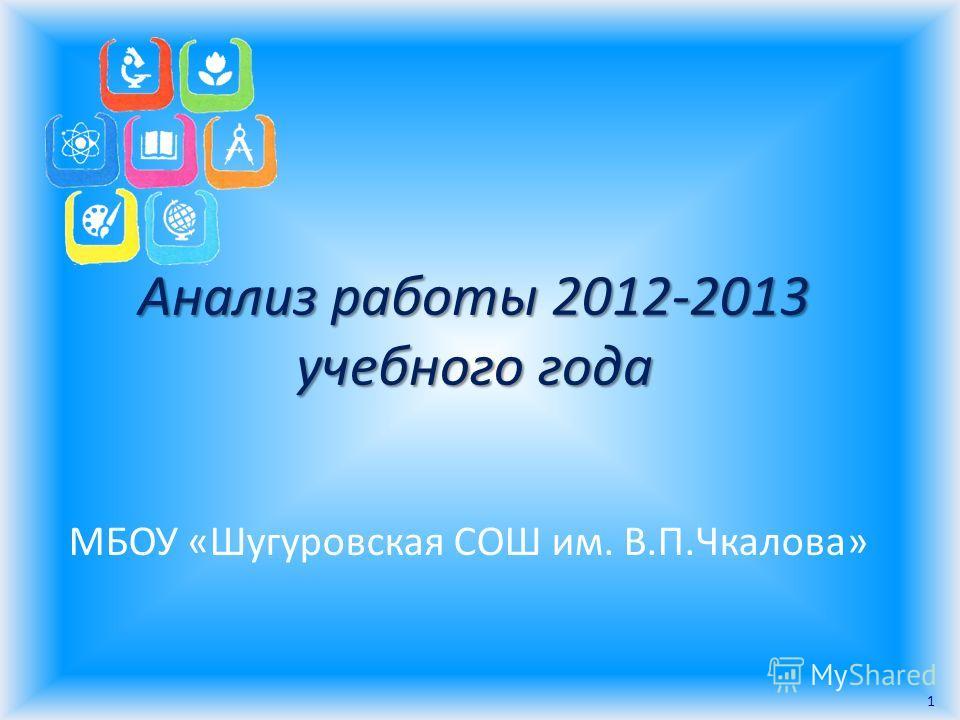 Анализ работы 2012-2013 учебного года МБОУ «Шугуровская СОШ им. В.П.Чкалова» 1