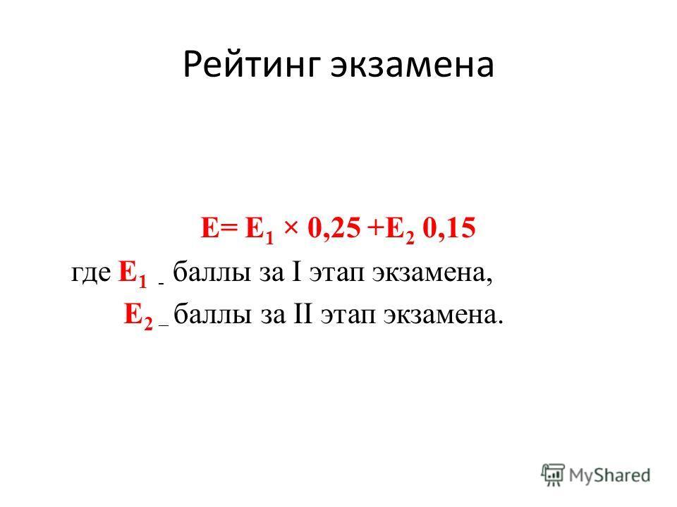 Рейтинг экзамена E= Е 1 × 0,25 +Е 2 0,15 где Е 1 - баллы за I этап экзамена, Е 2 – баллы за II этап экзамена.