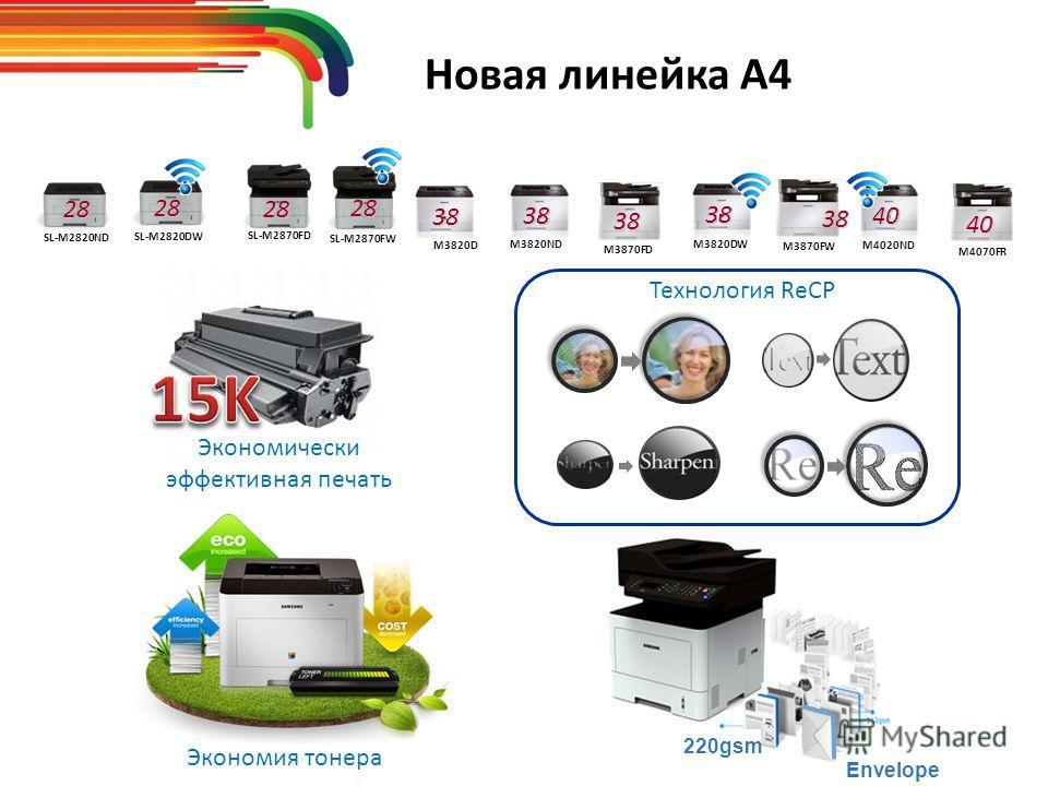Новая линейка А4 M3820D 38 M3820ND 38 M3820DW 38 M4020ND 40 M4070FR 40 M3870FD 38 M3870FW 38 SL-M2820ND28 SL-M2820DW28 SL-M2870FD2828 SL-M2870FW Экономия тонера Envelope 220gsm Технология ReCP Экономически эффективная печать
