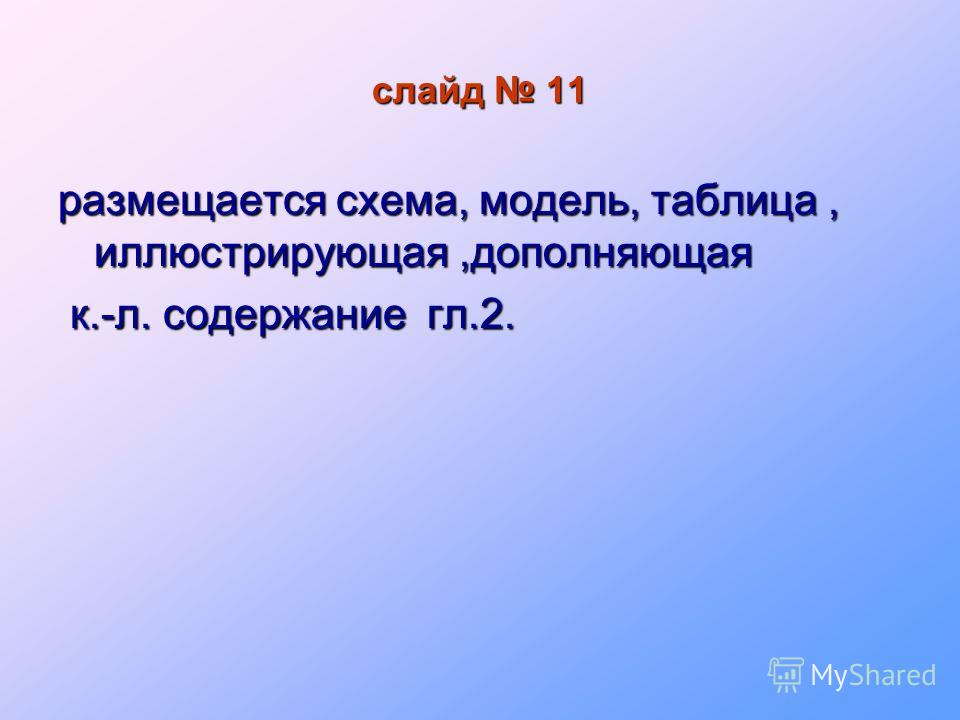 слайд 11 размещается схема, модель, таблица, иллюстрирующая,дополняющая к.-л. содержание гл.2. к.-л. содержание гл.2.
