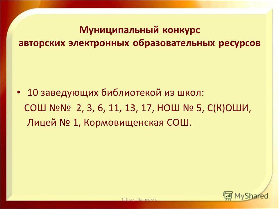 http://aida.ucoz.ru Муниципальный конкурс авторских электронных образовательных ресурсов 10 заведующих библиотекой из школ: СОШ 2, 3, 6, 11, 13, 17, НОШ 5, С(К)ОШИ, Лицей 1, Кормовищенская СОШ.