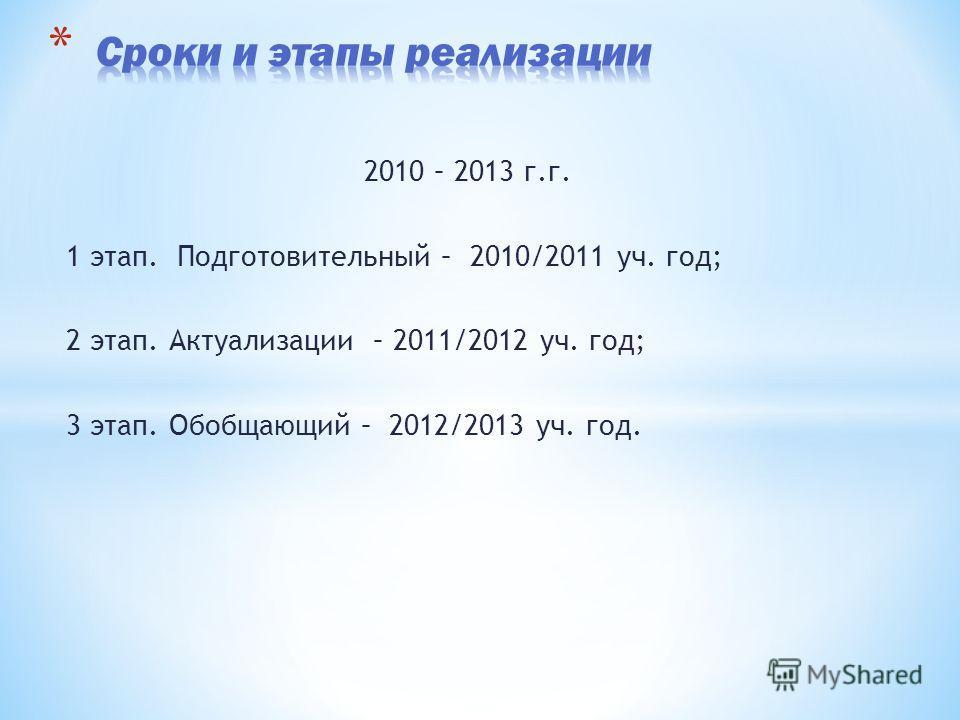 2010 – 2013 г.г. 1 этап. Подготовительный – 2010/2011 уч. год; 2 этап. Актуализации – 2011/2012 уч. год; 3 этап. Обобщающий – 2012/2013 уч. год.