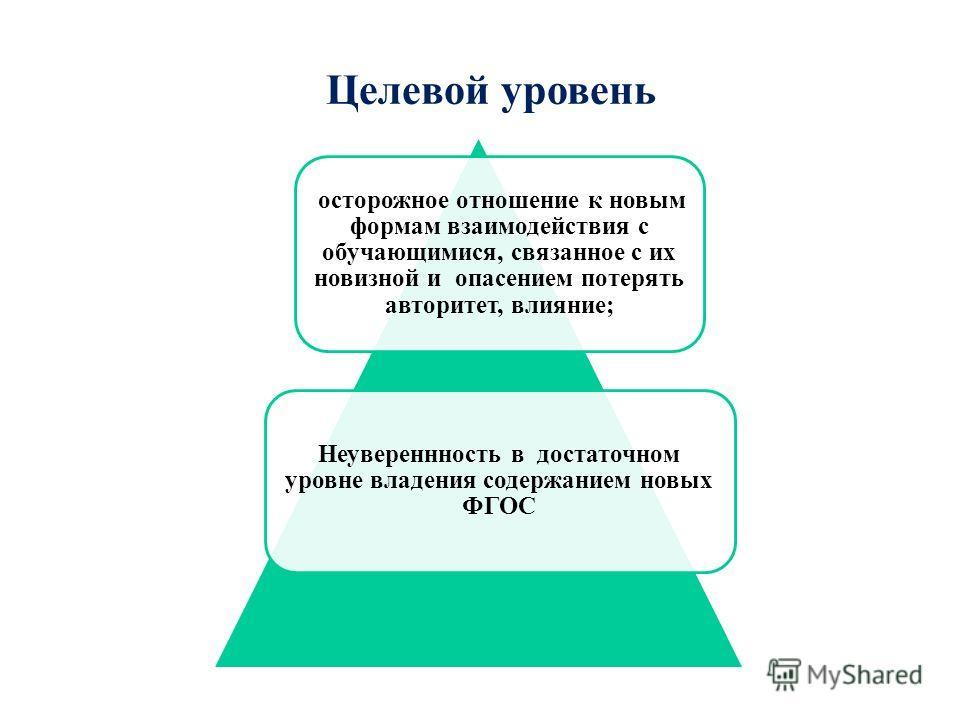 Целевой уровень осторожное отношение к новым формам взаимодействия с обучающимися, связанное с их новизной и опасением потерять авторитет, влияние; Неувереннность в достаточном уровне владения содержанием новых ФГОС