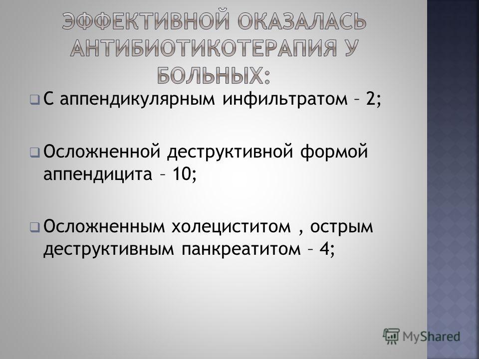 С аппендикулярным инфильтратом – 2; Осложненной деструктивной формой аппендицита – 10; Осложненным холециститом, острым деструктивным панкреатитом – 4;