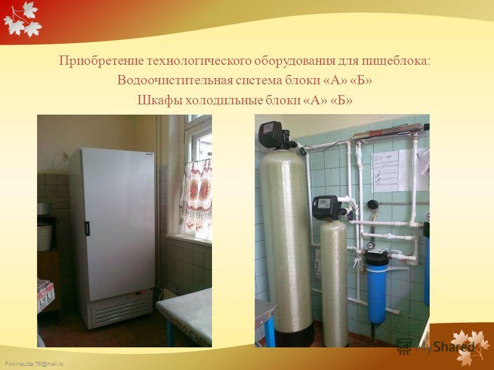 FokinaLida.75@mail.ru Приобретение технологического оборудования для пищеблока: Водоочистительная система блоки «А» «Б» Шкафы холодильные блоки «А» «Б»