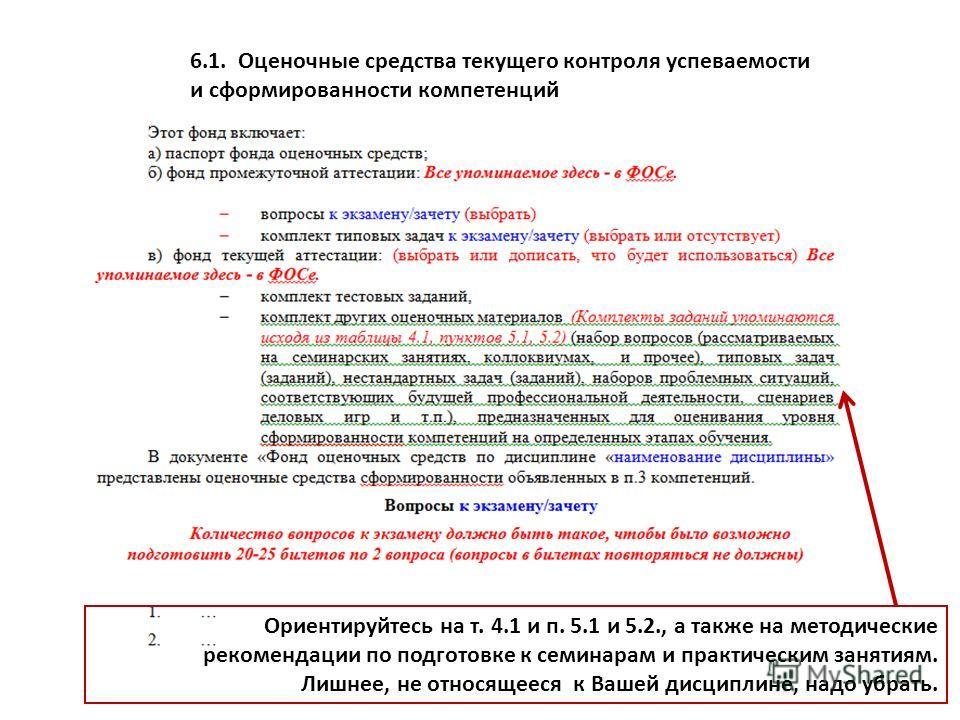 6.1.Оценочные средства текущего контроля успеваемости и сформированности компетенций Ориентируйтесь на т. 4.1 и п. 5.1 и 5.2., а также на методические рекомендации по подготовке к семинарам и практическим занятиям. Лишнее, не относящееся к Вашей дисц