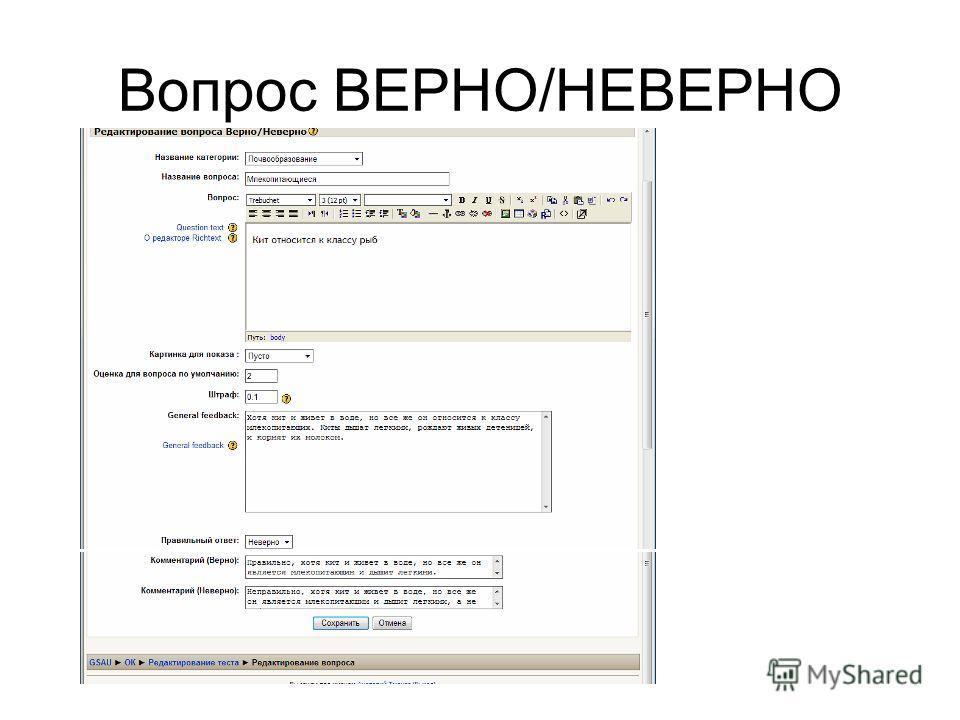 Вопрос ВЕРНО/НЕВЕРНО
