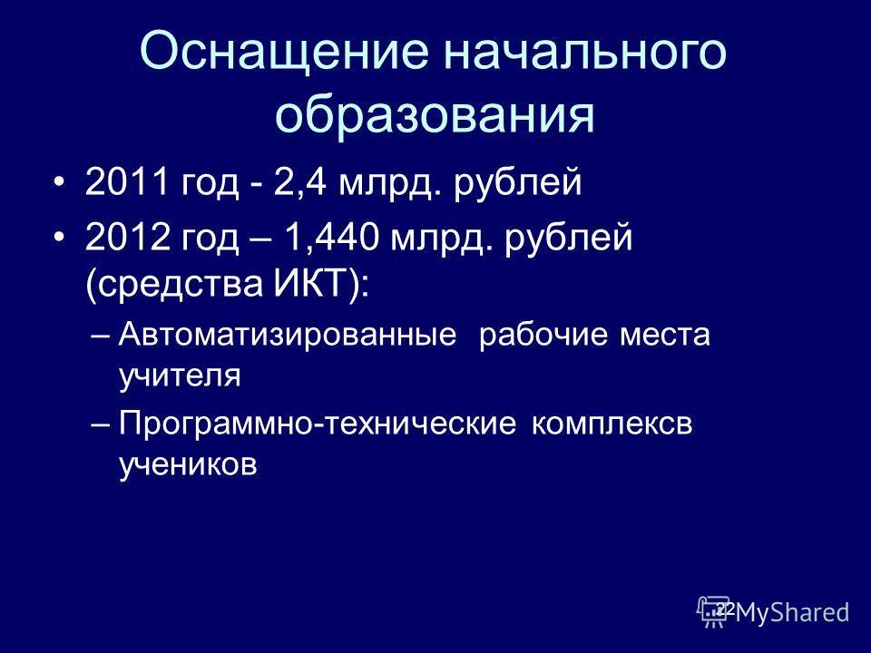 Оснащение начального образования 2011 год - 2,4 млрд. рублей 2012 год – 1,440 млрд. рублей (средства ИКТ): –Автоматизированные рабочие места учителя –Программно-технические комплексв учеников 22