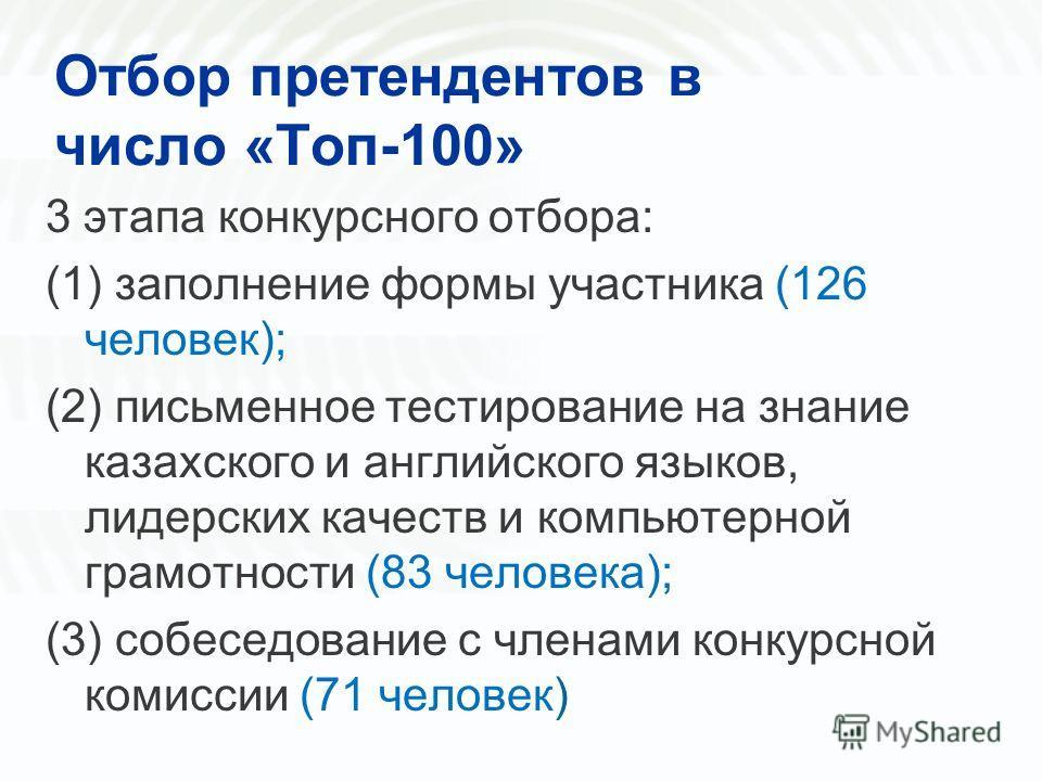Отбор претендентов в число «Топ-100» 3 этапа конкурсного отбора: (1) заполнение формы участника (126 человек); (2) письменное тестирование на знание казахского и английского языков, лидерских качеств и компьютерной грамотности (83 человека); (3) собе