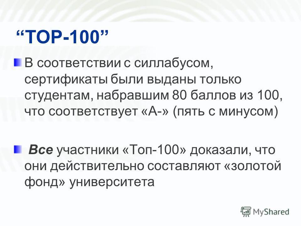 TOP-100 В соответствии с силлабусом, сертификаты были выданы только студентам, набравшим 80 баллов из 100, что соответствует «А-» (пять с минусом) Bce участники «Топ-100» доказали, что они действительно составляют «золотой фонд» университета