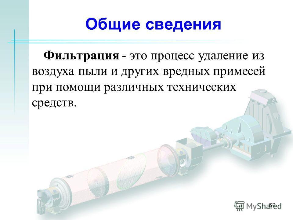 67 Общие сведения Фильтрация - это процесс удаление из воздуха пыли и других вредных примесей при помощи различных технических средств.