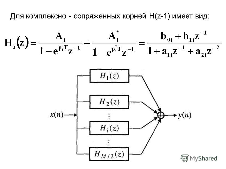 Для комплексно - сопряженных корней H(z-1) имеет вид:
