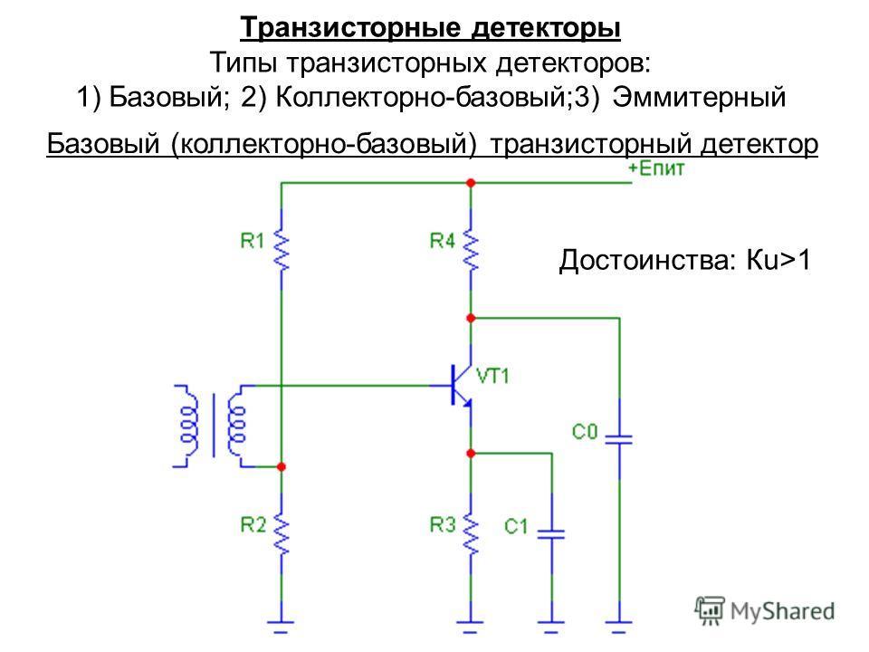 Транзисторные детекторы Типы транзисторных детекторов: 1) Базовый; 2) Коллекторно-базовый;3) Эммитерный Базовый (коллекторно-базовый) транзисторный детектор Достоинства: Кu>1