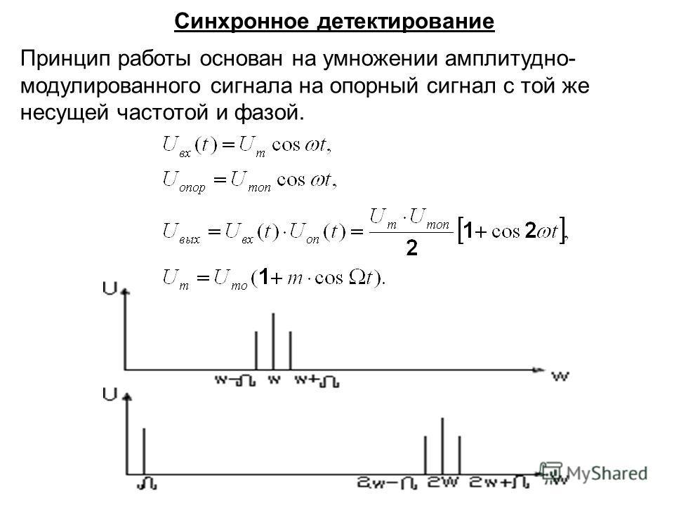 Принцип работы основан на умножении амплитудно- модулированного сигнала на опорный сигнал с той же несущей частотой и фазой. Синхронное детектирование