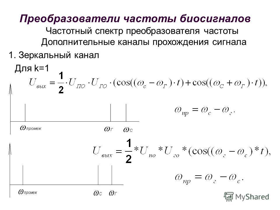 Частотный спектр преобразователя частоты Дополнительные каналы прохождения сигнала 1. Зеркальный канал Для k=1 Преобразователи частоты биосигналов