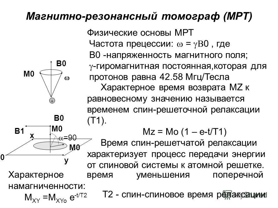 M0 B0 Частота прецессии: = 0, где B0 -напряженность магнитного поля; -гиромагнитная постоянная,которая для протонов равна 42.58 Мгц/Тесла Физические основы МРТ B1 B1 B0 M0 =90 x 0 y Характерное время возврата MZ к равновесному значению называется вре