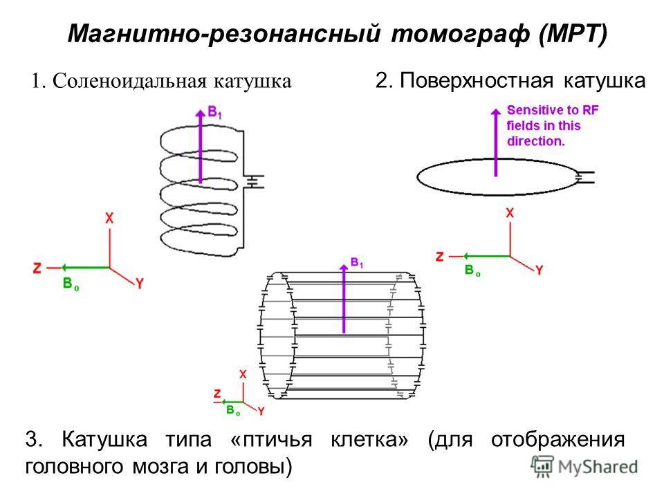 2. Поверхностная катушка1. Соленоидальная катушка 3. Катушка типа «птичья клетка» (для отображения головного мозга и головы) Магнитно-резонансный томограф (МРТ)
