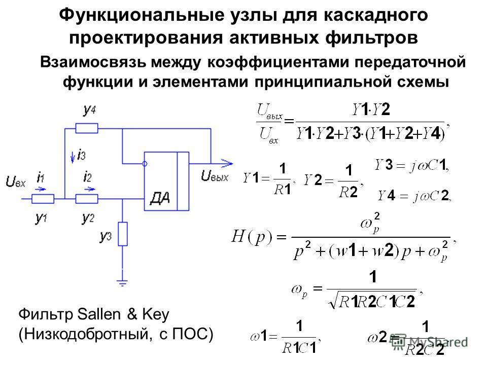 Функциональные узлы для каскадного проектирования активных фильтров Взаимосвязь между коэффициентами передаточной функции и элементами принципиальной схемы Фильтр Sallen & Key (Низкодобротный, с ПОС)