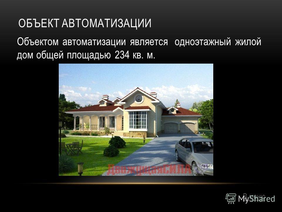 ОБЪЕКТ АВТОМАТИЗАЦИИ Объектом автоматизации является одноэтажный жилой дом общей площадью 234 кв. м. Дом расчитан на семью из 3-4 человек. В меню