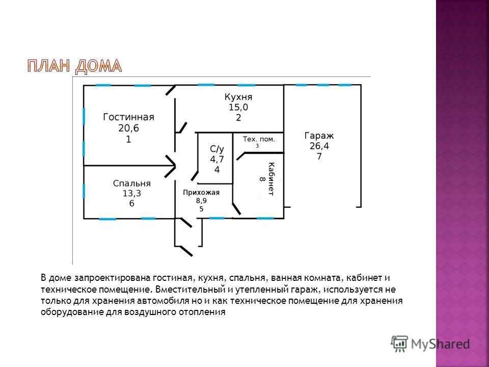 В доме запроектирована гостиная, кухня, спальня, ванная комната, кабинет и техническое помещение. Вместительный и утепленный гараж, используется не только для хранения автомобиля но и как техническое помещение для хранения оборудование для воздушного