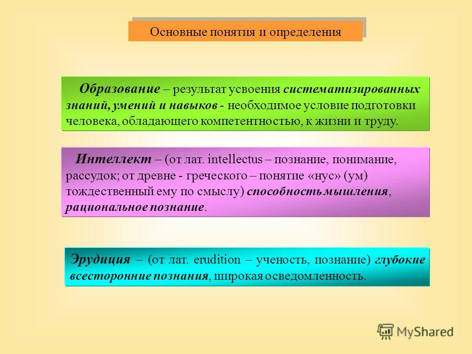 Образование – результат усвоения систематизированных знаний, умений и навыков - необходимое условие подготовки человека, обладающего компетентностью, к жизни и труду. Интеллект – (от лат. intellectus – познание, понимание, рассудок; от древне - грече