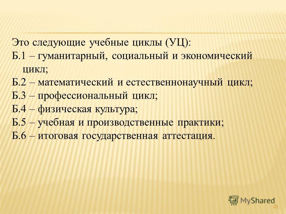 Это следующие учебные циклы (УЦ): Б.1 – гуманитарный, социальный и экономический цикл; Б.2 – математический и естественнонаучный цикл; Б.3 – профессиональный цикл; Б.4 – физическая культура; Б.5 – учебная и производственные практики; Б.6 – итоговая г