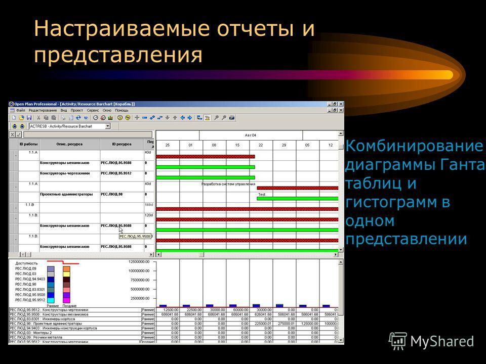 Настраиваемые отчеты и представления Комбинирование диаграммы Ганта, таблиц и гистограмм в одном представлении