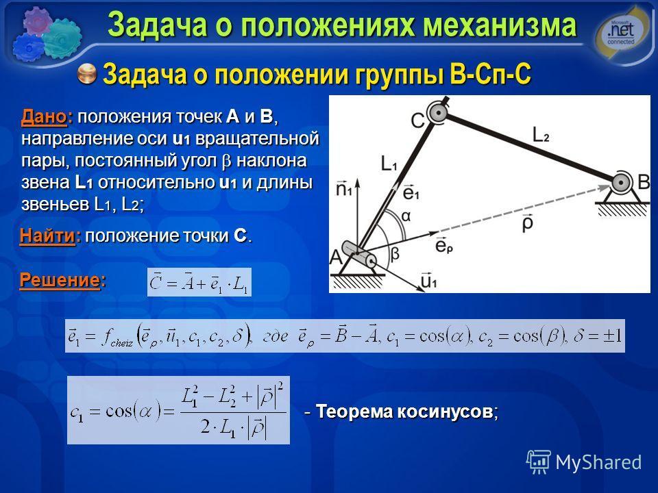 Задача о положениях механизма Задача о положении группы В-Сп-С Дано: положения точек A и В, направление оси u 1 вращательной пары, постоянный угол наклона звена L 1 относительно u 1 и длины звеньев L 1, L 2 ; Найти: положение точки С. Решение: - Теор