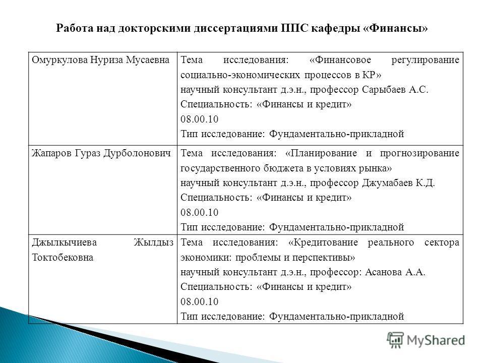 Диссертациями ппс кафедры финансы