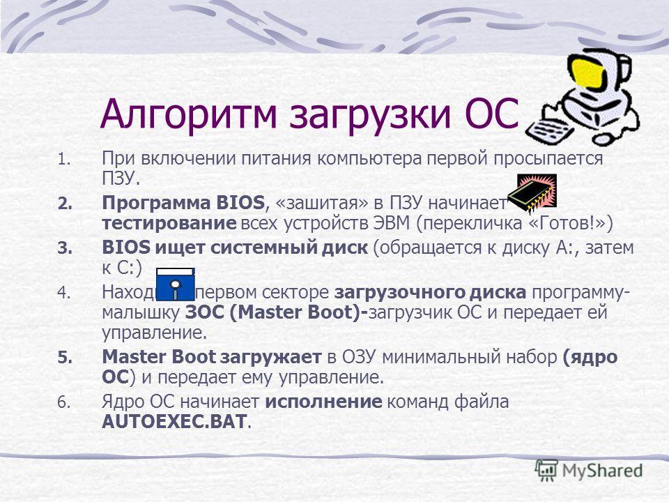 Алгоритм загрузки ОС 1. При включении питания компьютера первой просыпается ПЗУ. 2. Программа BIOS, «зашитая» в ПЗУ начинает тестирование всех устройств ЭВМ (перекличка «Готов!») 3. BIOS ищет системный диск (обращается к диску А:, затем к С:) 4. Нахо